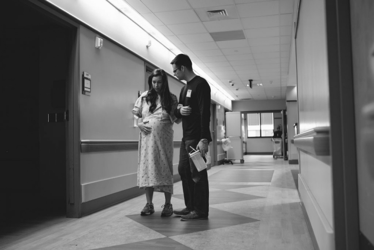 walking hospital halls while in labor