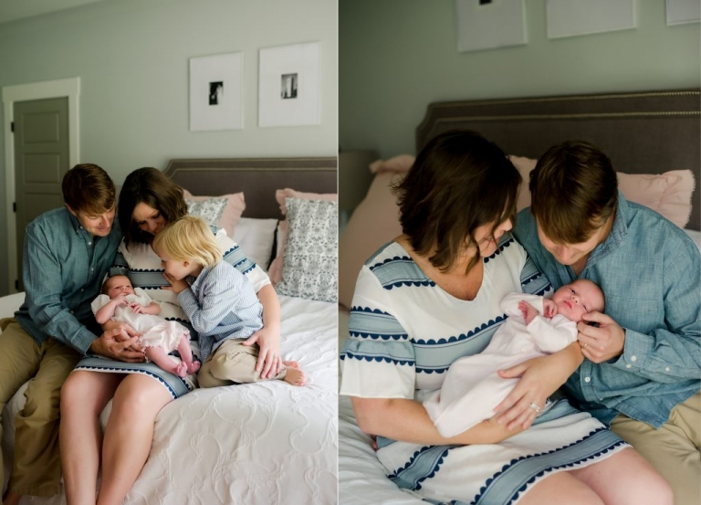 family at home with new baby girl and big brother