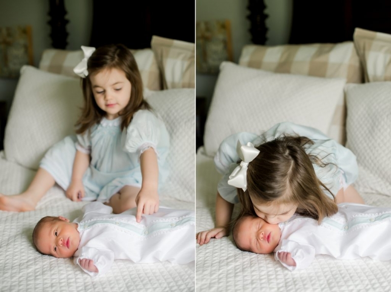 brother and big sister portraits newborn